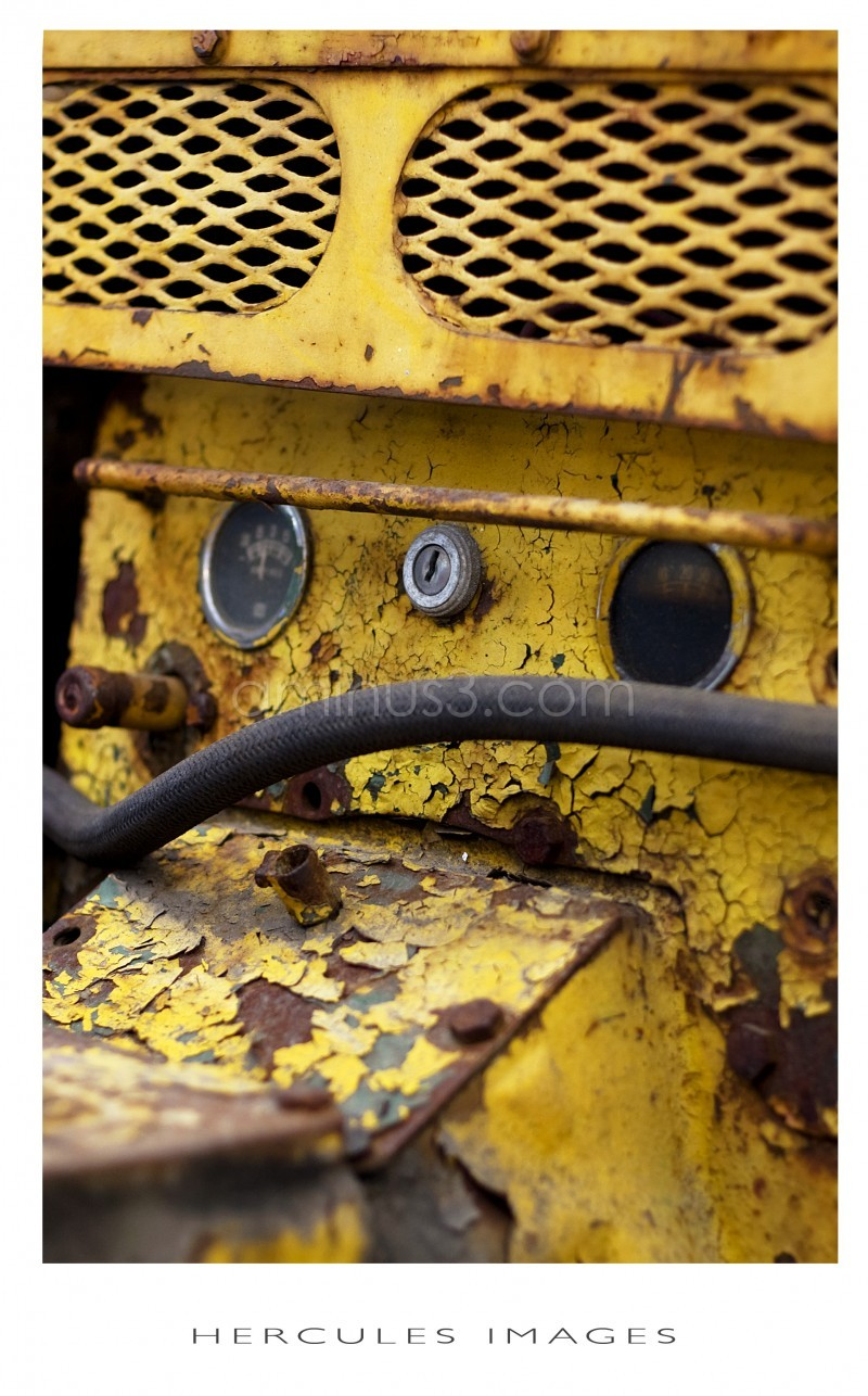 A yellow rustic machine