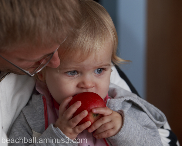 Addison trys a Red Apple