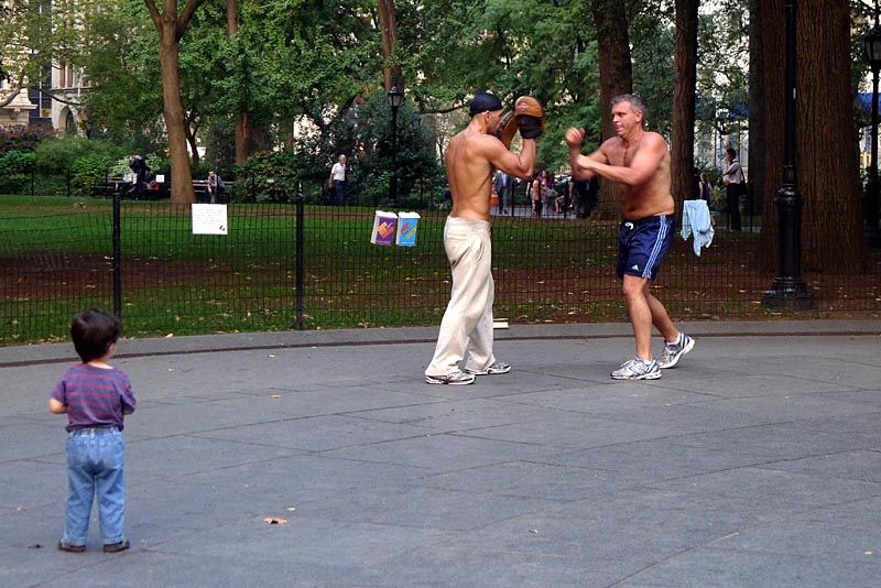 Sparring partners on Madison Square park