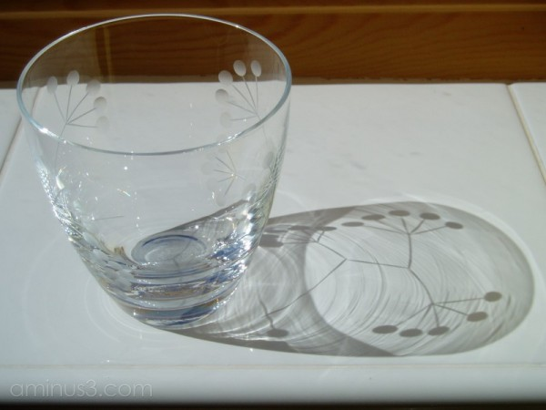Glass shadow refraction