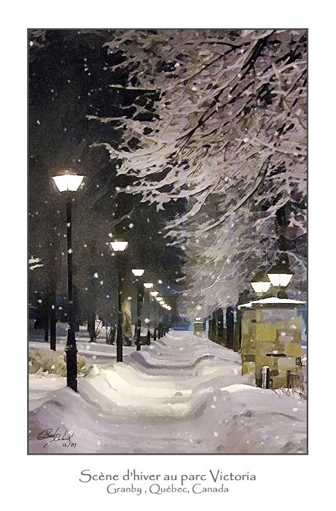 scène d'hiver au parc Victoria