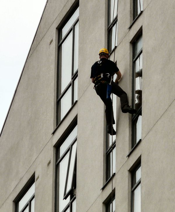 Cleaning windows on Nick Everton House