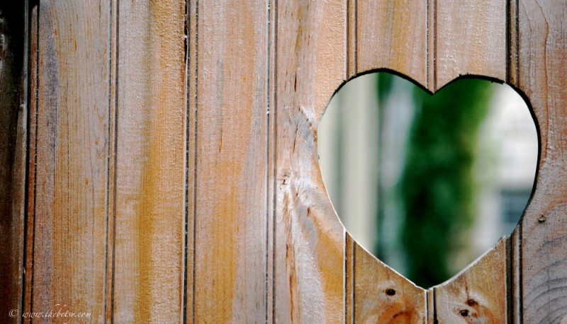 carved wood heart in fence valentine's day