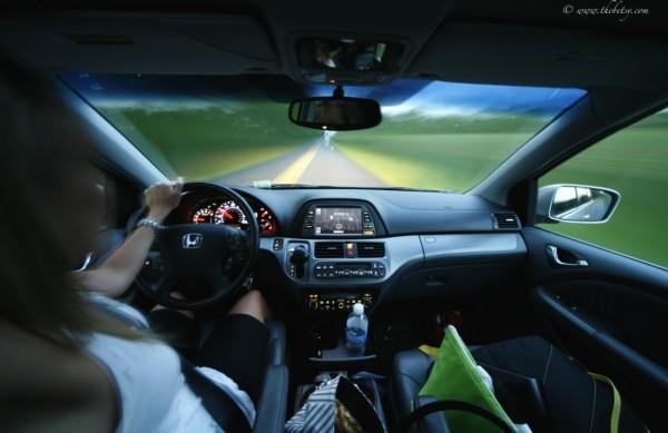 self portrait driving motion long exposure car