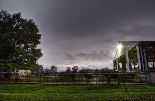 hdr landolakes dairy sunset storm