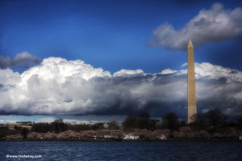 washington-monument, tidal-basin, dc, clouds