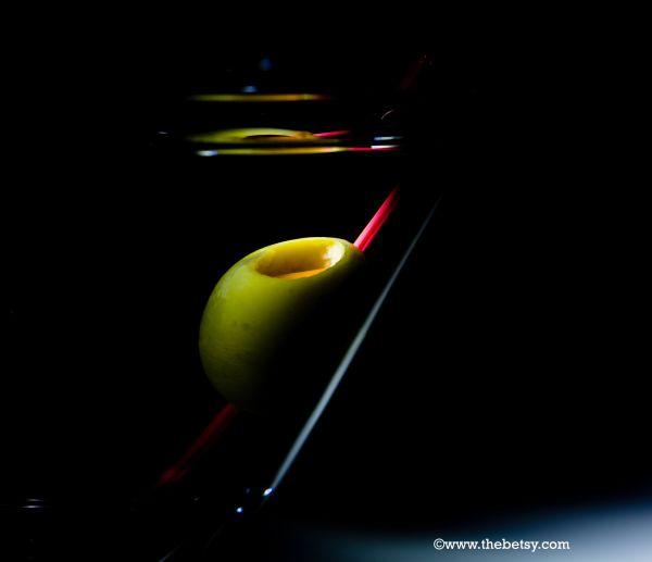 martini, glass, olive, shadows