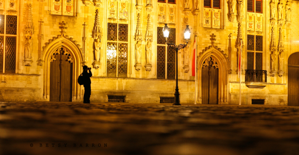 bruges, night, church, belgium, square, photograph