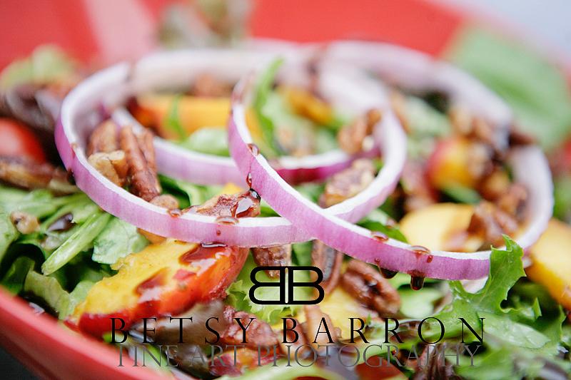 summer, salad, onions, red, peach, lettuce, food