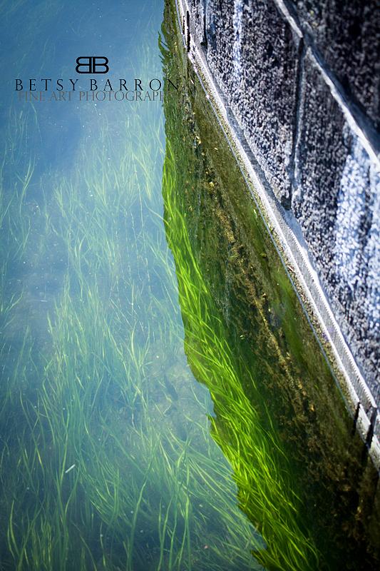 landscape, green, grass, water, river, wall