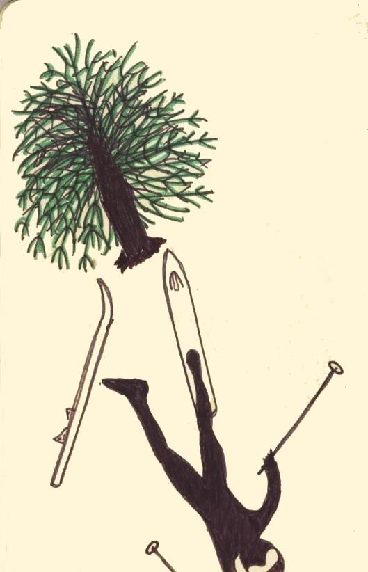 Jason Maxey cartoon drawing skiing