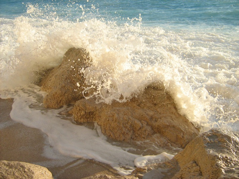 sea waves rocks Lefkada