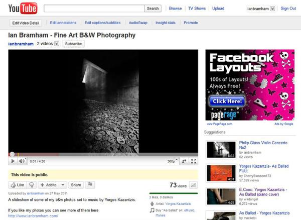slideshow of fine art b&w photos by Ian Bramham