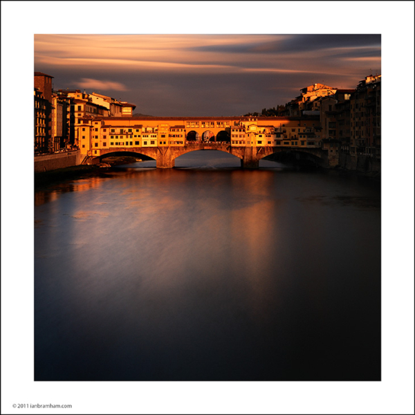 fine art photo of the Ponte Veccio at sunset