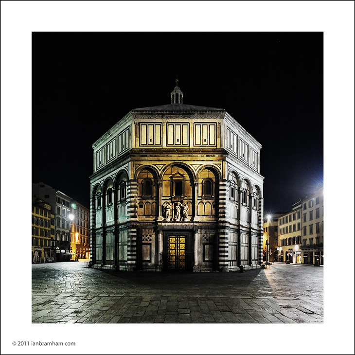 a night photo of the baptistry in Florence, Italy