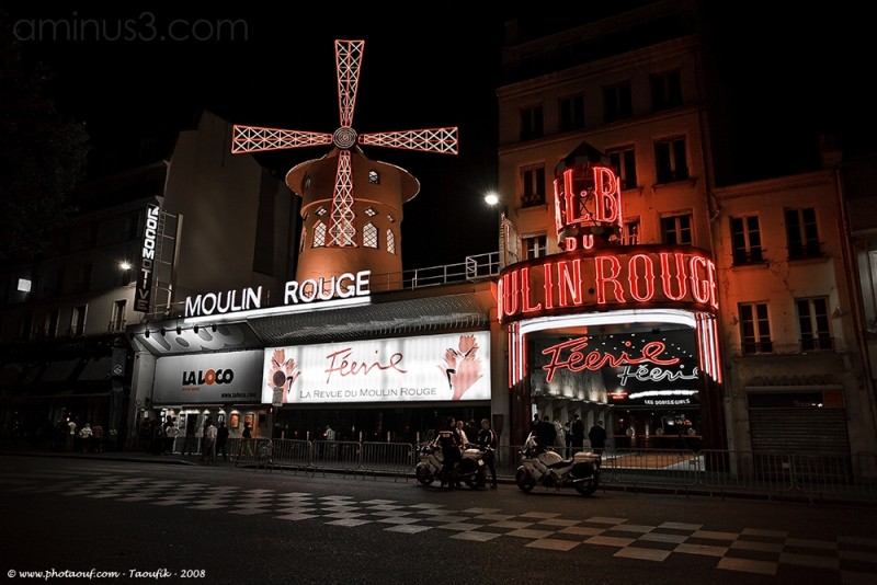 The Moulin Rouge by night - Paris
