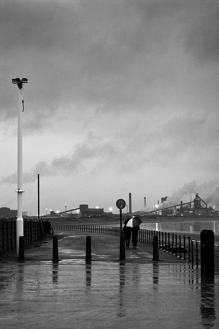redcar, grim, winter, rain