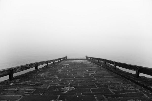 landing, staithes, mist, fog, fret