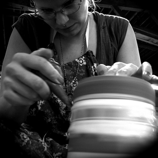 Slip trailing wheel-thrown pottery