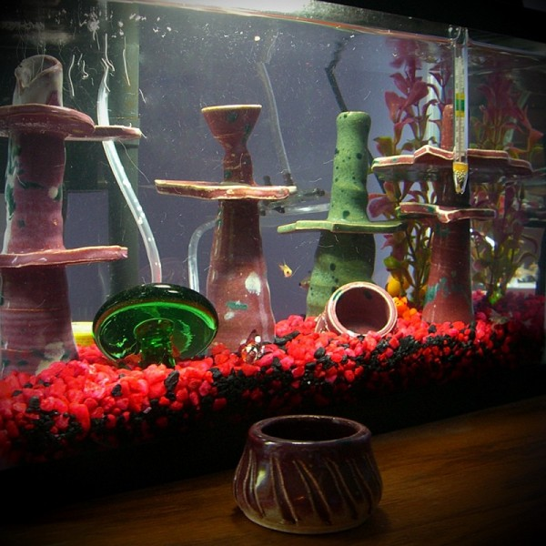 Wheel-thrown handbuilt abstract items for fishtank