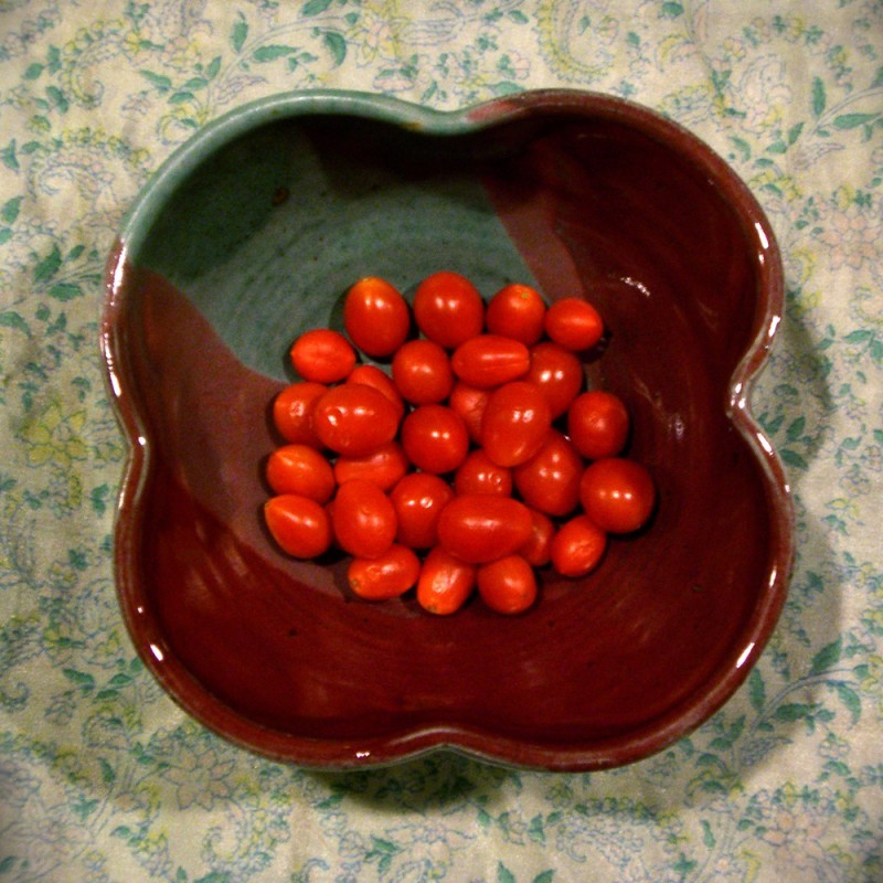 Wheel thrown bowl grape tomatoes altered
