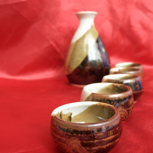 wheel-thrown sake set ceramics pottery