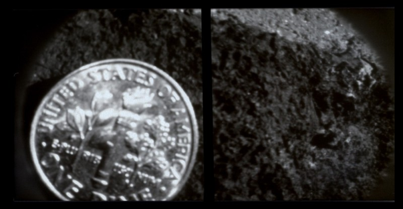 b&w dime pinhole close-up