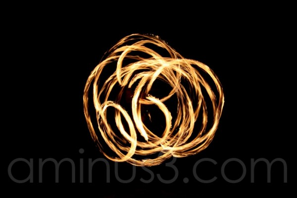 Circles of fire in a black background