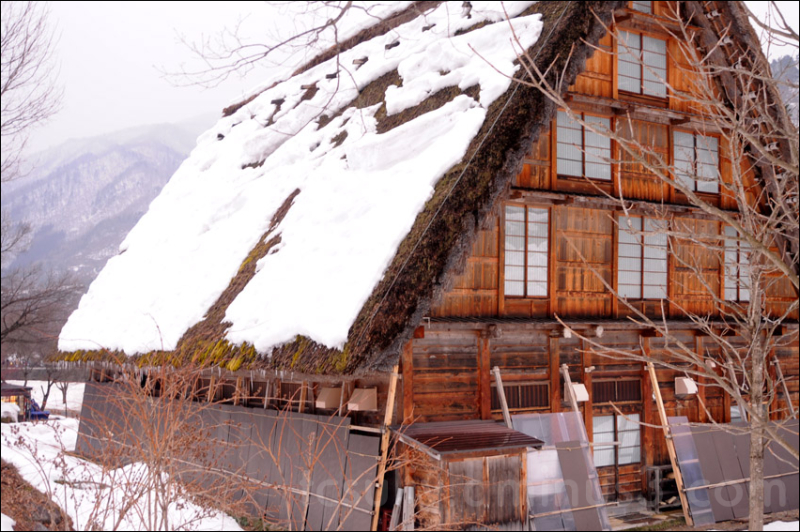 showtopped gassho in shirakawago 雪をかぶった合掌造