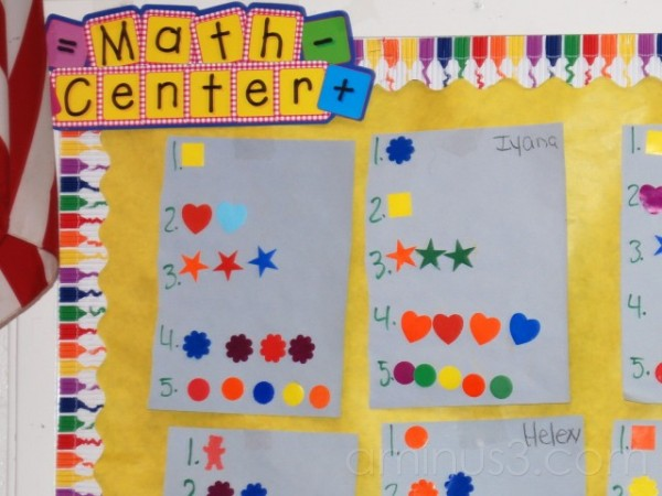 math center in headstart classroom