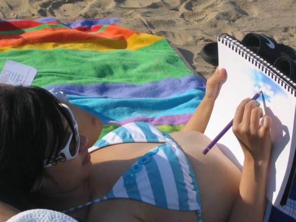 artist at the beach