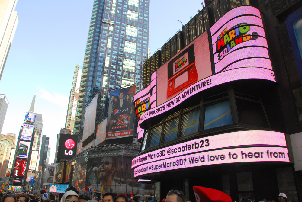super mario 3d land takes over times square