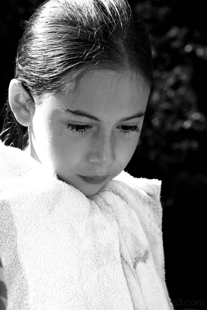 girl drying off