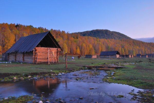 house, reflection, river, sunset, tree, Xin Jiang