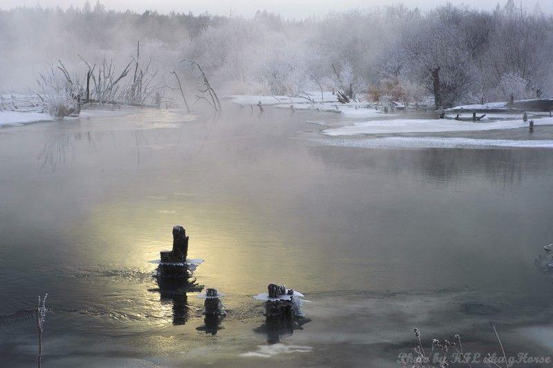 sun rise, nipple river, Jilin, 吉林, 奶头河, mist, refl