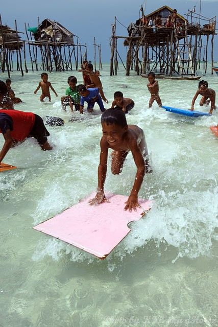 Semporna, Malaysia, sea, children, play, action, s