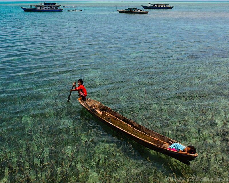 Semporna, Malaysia, weed, sea, boat, children