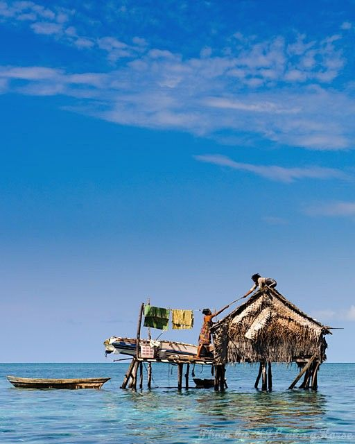 Semporna, Malaysia, people, house, sea, blue, sky,