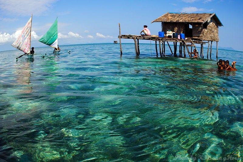 Semporna, Malaysia, house, sea, boat, blue, sky, c