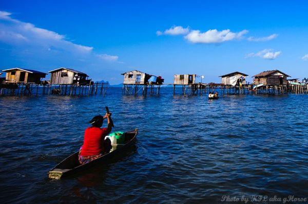 Semporna, Malaysia, people, house, sea, boat, blue