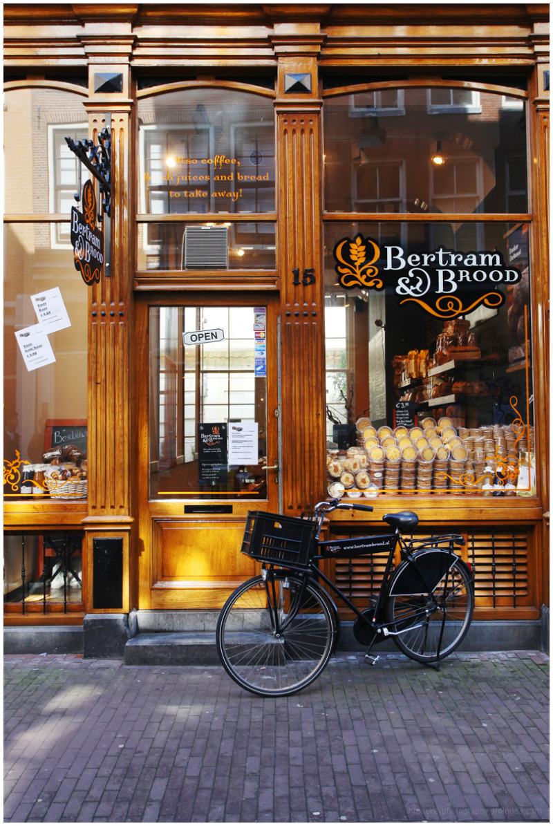 an exquisite bakery in amsterdam, with bicycle