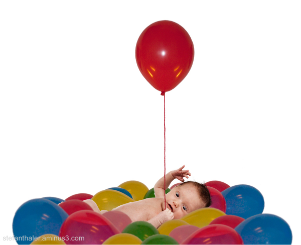 red ballon, Babyfoto mit Luftballon, Luftballon