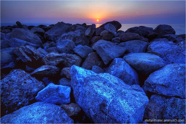 sunset & blue stones