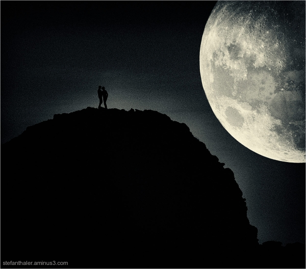 love couple, moon, Mond, Liebespaar