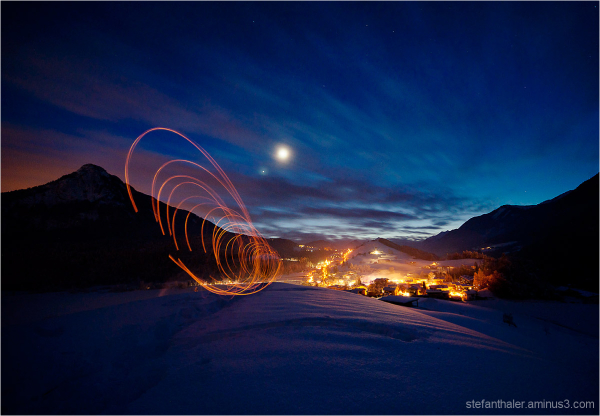 light painting, lapp, night, mountain,