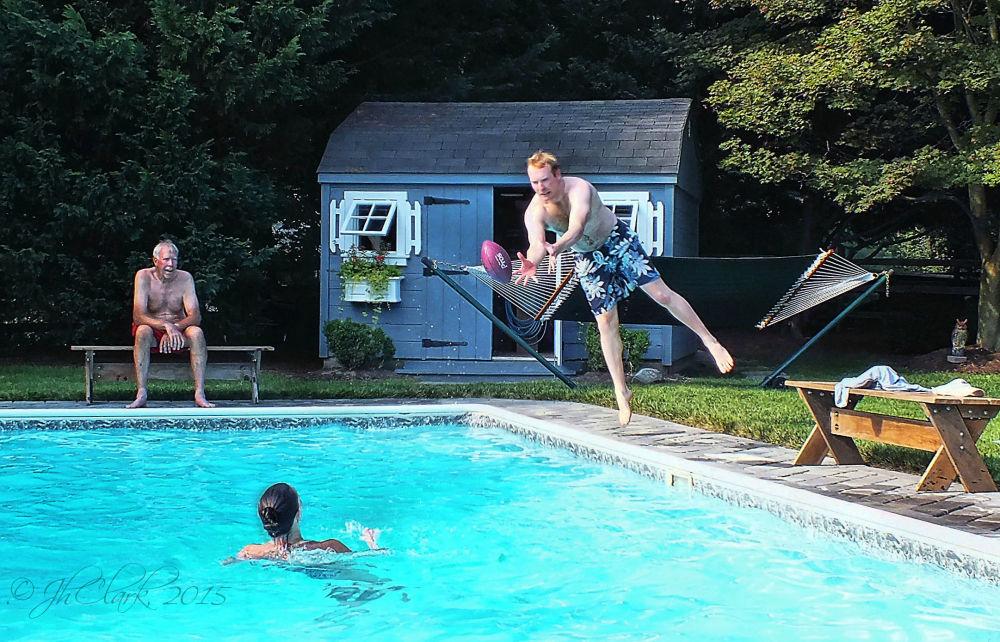 Pool play last July...