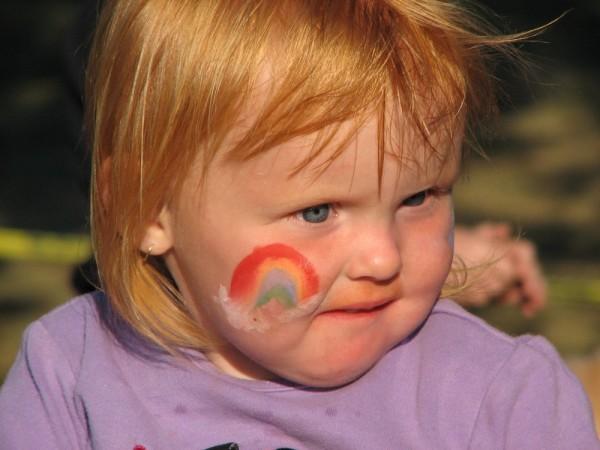 A kid celebrating Canada Day