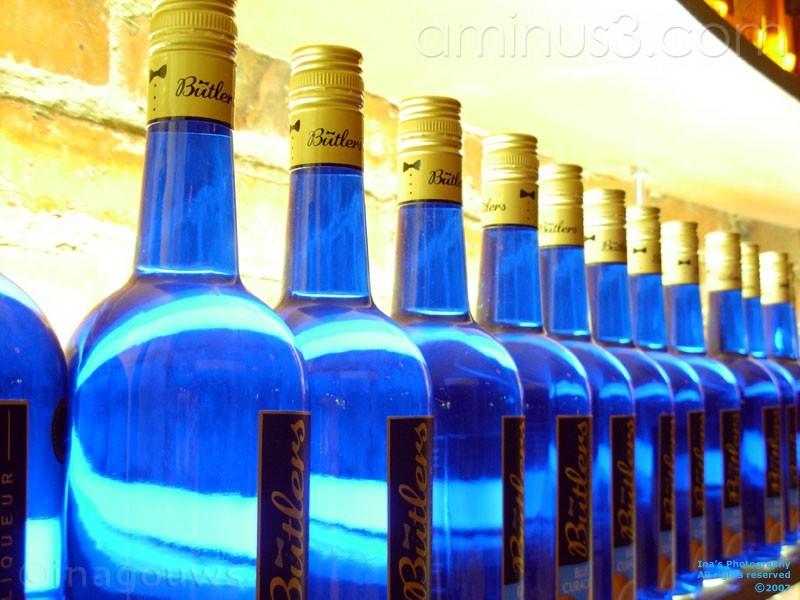 Blue butlers bottles on display