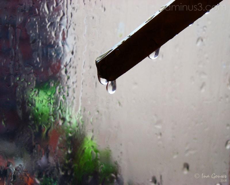 Raindrops on window handle