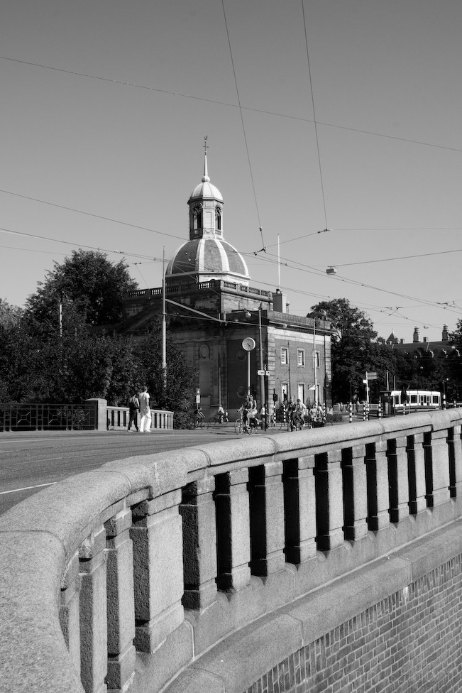 Black and White of View from a bridge in Amsterdam